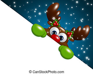 christmas cartoon reindeer over blue background holding...