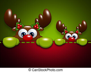 christmas cartoon reindeers in the pocket - two christmas...