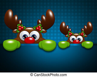 christmas reindeers over blue lattice background - christmas...
