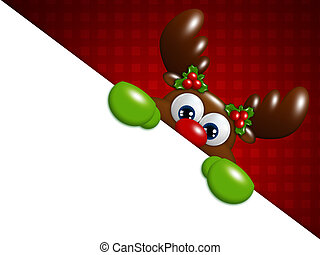christmas cartoon reindeer over red background holding blank...