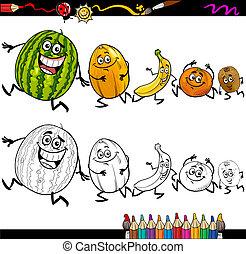 frutas, Executando, coloração, caricatura, página