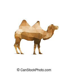 Illustration of abstract origami camel isolated on white backgro