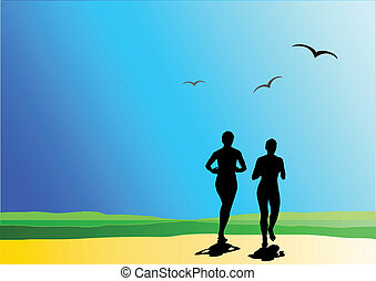 Two runner on nature, holiday sport background