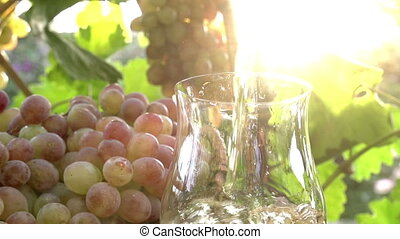 Grape Juice and Sun - Grape juice is poured from a jug into...