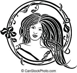 Girl portrait Art Nouveau style