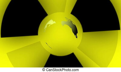 Pulsing Radiation Symbol and Earth - Animation on a yellow...