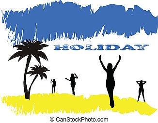 Holiday poster, summer beach and silhouette of women