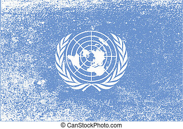 United Nations Flag Grunge - The flag as flown by the United...