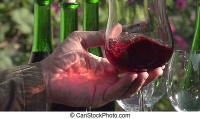 Sommelier Wine Tasting - Glass in her hand close-up. Wine...