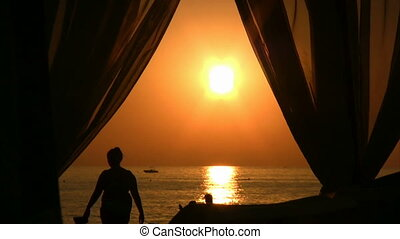 Sunset beach scene at Alanya - Beautiful Sunset on...