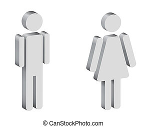 black and white silhouettes of man and woman, 3d, vector