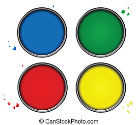 Four color piant cans with small drops on white background