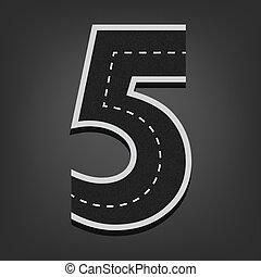 Five number. Road font