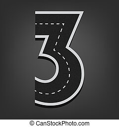 Three number. Road font