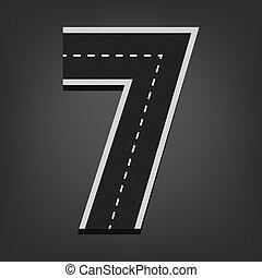 Seven number. Road font