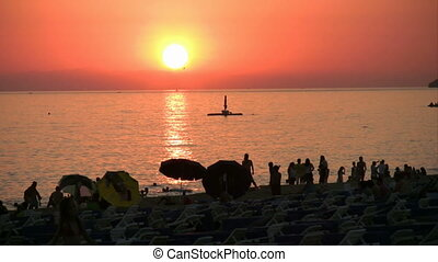 Sunset beach scene at Alanya