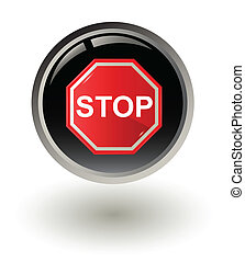 Vector illustration of Stop sign on button