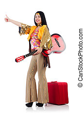 Travelling musician with suitcase and guitar