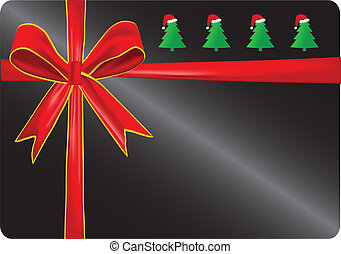 Gift card with red ribbons. Vector eps10.
