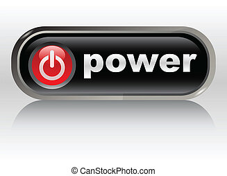 power on - web button, vector