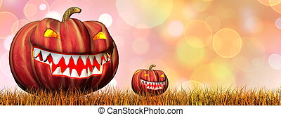 Pumpkins for halloween - 3D render - Two pumpkins on...