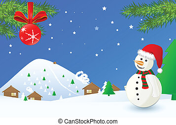 Christmas time- landscape with snowman, eps 10 vector