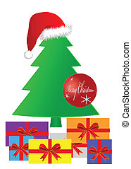 Gifts under a Christmas tree, eps 10 vector.