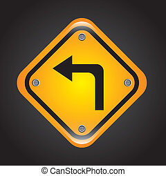 left turn design - left turn graphic design , vector...