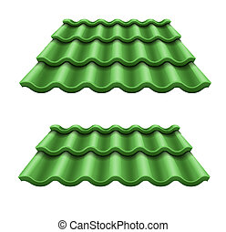 Green corrugated tile element of roof