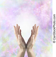 Gentle Healing Energy - Female healing hands cupped and...