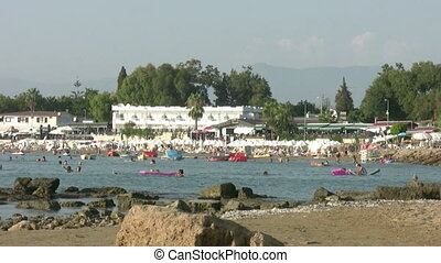 Beach scene at Side Antalya Turkey - Summer holiday scenics