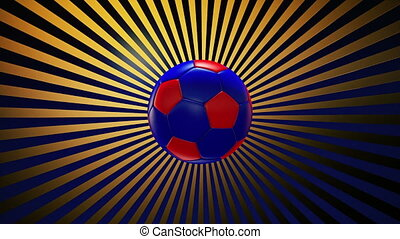 Soccer ball on a sunburst 3