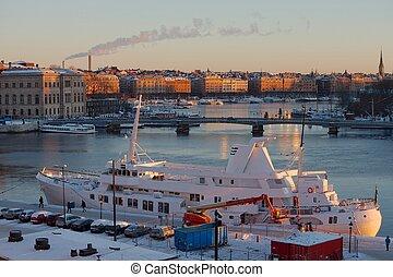 Stockholm winter - Stockholm in the light og the rising sun