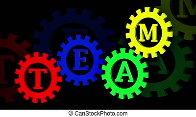 Abstract gears with inscription 5