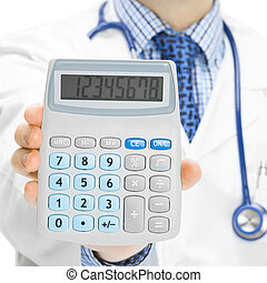 Doctor with calculator in hand - 1 to 1 ratio