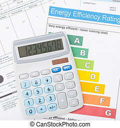 Calculator and energy efficiency chart - 1 to 1 ratio