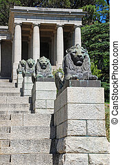 Bronze lions and steps, Cape Town, South Africa - Bronze...