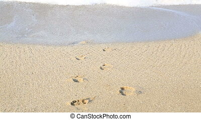 Foot trace on beach