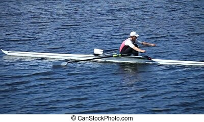 rowing slow motion - Sculling rowing slow motion