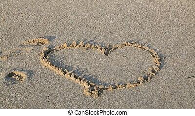 Heart shape on a beach