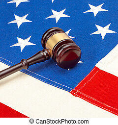 Judge gavel with US flag - 1 to 1 rato
