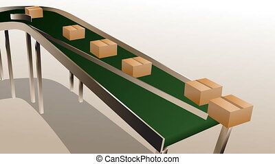 conveyor belt and carton box