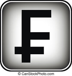 Swiss franc symbol button on white background.
