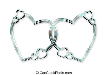 Silver Blue Hearts Linked 3D - 3Dimensional linked silver...