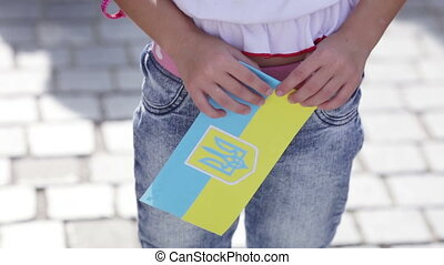 Flags of Ukraine souvenir - Souvenir flag of Ukraine in hand...