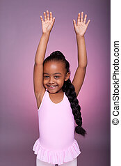 lindo, poco, bailando, norteamericano, africano, niña