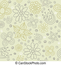 Vector floral seamless pattern with abstract flowers