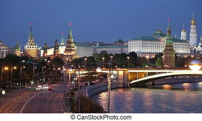 night view of the Kremlin, Moscow - night view of the Moskva...