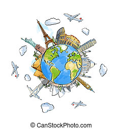 landmarks - travel background with earth and landmarks