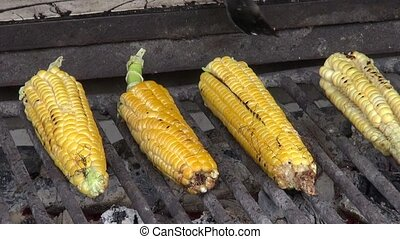 Grilled Corn, BBQ, Barbeque, Food, Cooking